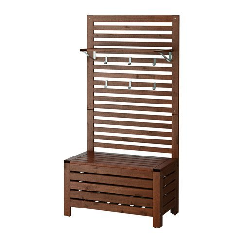 Ikea Bench w/wall panel and shelf, outdoor, brown stained 42020.52314.210 by Ikea