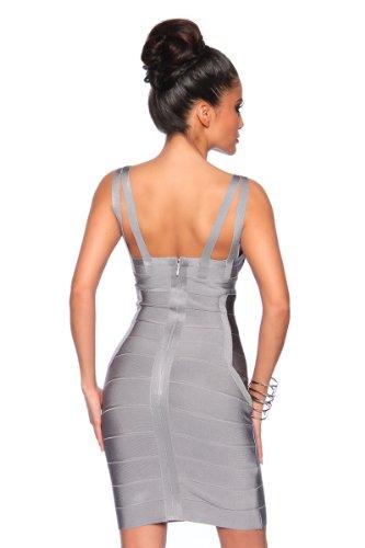 Kleid Shape Minikleid Grau Hochwertiges jowiha® Silber Bandage Angesagtes tIxRXqTA