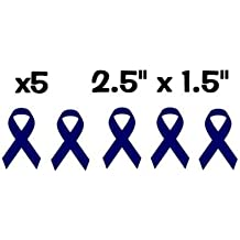"X5 / Five Individual Colon / Mesothelioma Cancer Ribbon Blue Pack Vinyl Decal Stickers 2.5"" X 1.5"""