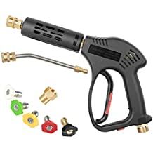 Chavor Pressure Washer Spray Short Gun Kit, 5 Quick Color Nozzle Tips with 7 Inch Extension Curved Rod, M22 Fitting, Hot and Cold Water Replacement, 5000 PSI (Renewed)