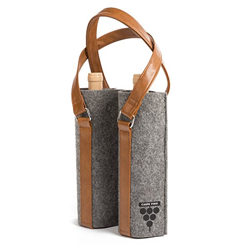 Carpe Vino Felt & Vegan Leather Double Bottle Wine Bag - Charcoal & Brown Tote