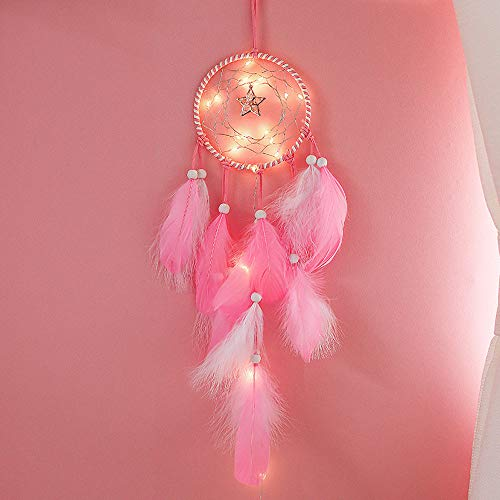 Copper Feather Table Lamp - Dirance Dreamcatcher Feather LED String Light Copper Wire Fairy Night Light Lamp Festival Girl Bedroom Home Decor (Pink)
