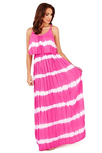 Superbe  Rayures pliss Tie And Dye Jupe Longue, Court ou Robe Maxi, Marine Rose