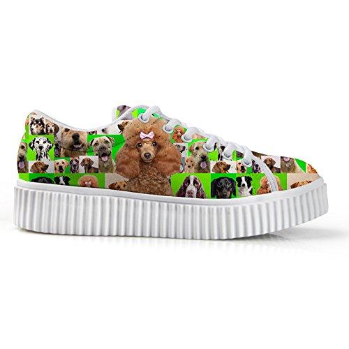 Câlins Idée Désinvolte Rose Femmes Plate-forme Chaussures Coupe Chien Impression Sneakers Caniche Vert