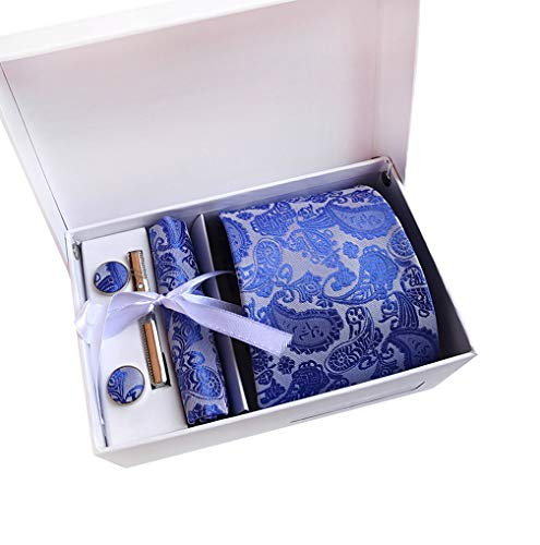 MENDENG Mens Silver Blue Paisley Neckties Clip Hanky Cufflinks Set with Gift Box