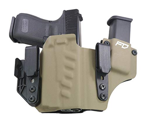 Fierce Defender IWB Kydex Holster Glock 19 23 32 w/Olight PL-Mini Valkyrie +1 Series w/Claw -Made in USA- Gen 5 Compatible (Flat Dark Earth)