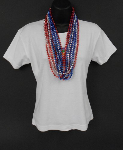 33 inch 7mm Round Metallic Red, Blue and Silver Mardi Gras Beads - 6 Dozen (72 necklaces) by Mardi Gras Spot (Image #2)