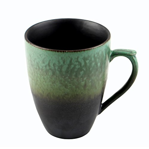Oojdzoo Handmade Pottery Large Coffee/Tea Mug Polish - 10 oz Rustic Stoneware Ceramic Cup Clay Art - Gift for Christmas (Green and ()