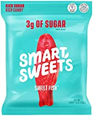 SmartSweets Sweet Fish, Candy with Low Sugar (3g), Low Calorie(100), Plant-Based, Free From Sugar Alcohols, No