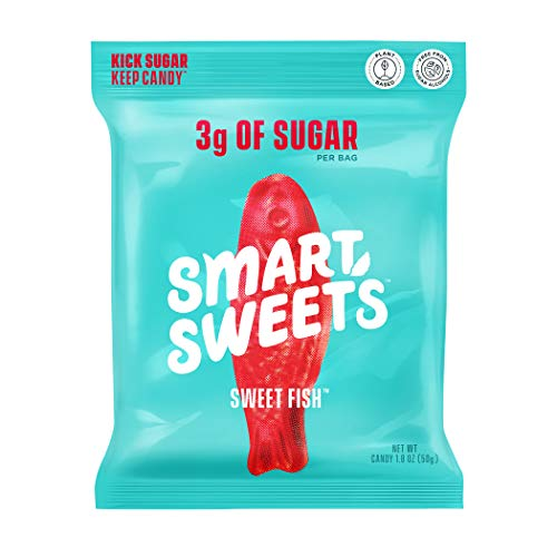 GoodSweets Sweet Fish, Candy with Low Sugar (3g), Low Calorie(100), Plant-Based, Free From Sugar Alcohols, No Artificial Colors or Sweeteners, 1.8oz. (Pack of 12)