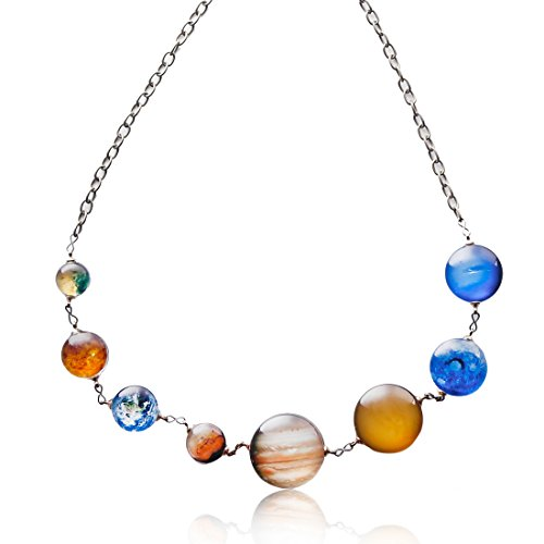 Amber Sun Amber Necklace (8 Planet Pendant Necklaces for Women - Solar System Double-sided Handmade Steel Chain Cross Necklace (Style3))