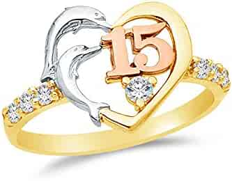 14k Rose Yellow & White Gold Highest Quality CZ Cubic Zirconia 15 Years Birthday Heart Dolphin Ring