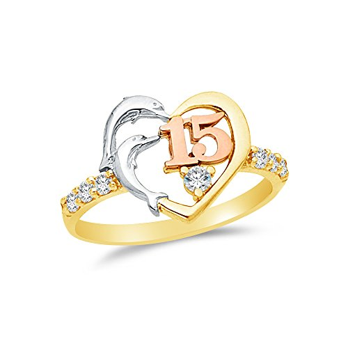 Size - 6.5 - 14k Rose Yellow & White Gold Highest Quality CZ Cubic Zirconia 15 Years Birthday Heart Dolphin Ring by Sonia Jewels