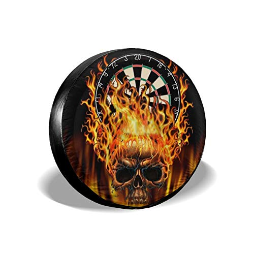 Beach Surfers Spare Tire Cover Flaming Skull Dartboard Accessories Universal Spare Tire Covers for Trailer RV Car Truck Wheel 15 Inch ()