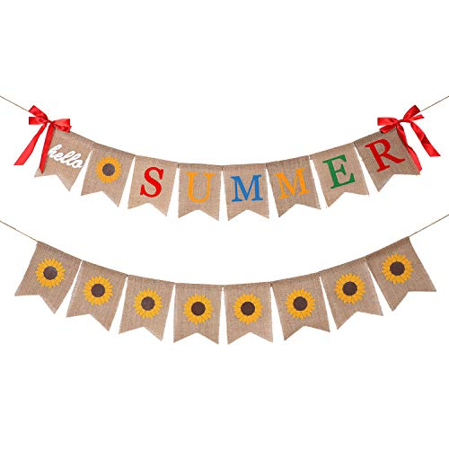 2 Pieces Hello Summer Banner Burlap Banner with Sunflower Banner for Beach Party, Birthday Party, Hawaiian Party Decorations (Summer Office Decorations)