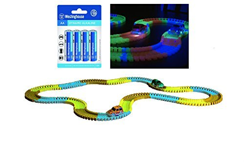 246 Piece Glow in the Dark Bend-a-Path Safari Adventure Playset for Kids 2 Light up SUV 12 Ft Track & 1 4 Pack AA Batteries Unisex Toys for Age 3 & Up