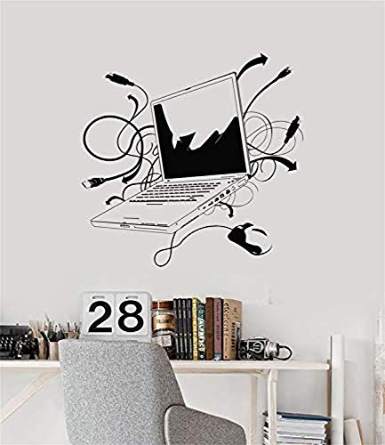 om Home Mural Art Laptop IT Computer with Data Lincheses Gaming Mural Wall Decals Decor Vinyl Stickers SK2619 ()