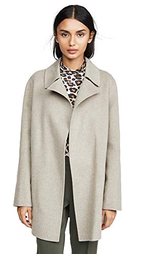 Theory Women's Overlay DF Coat, Taupe Grey, Petite