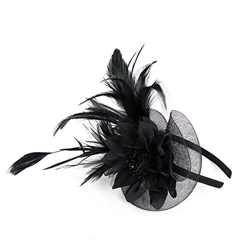 Hilary Ella Netting Feathers Big Flower Headband Party Girls Women Fascinator Headwear Cocktail Hat Head Decoration (Black)