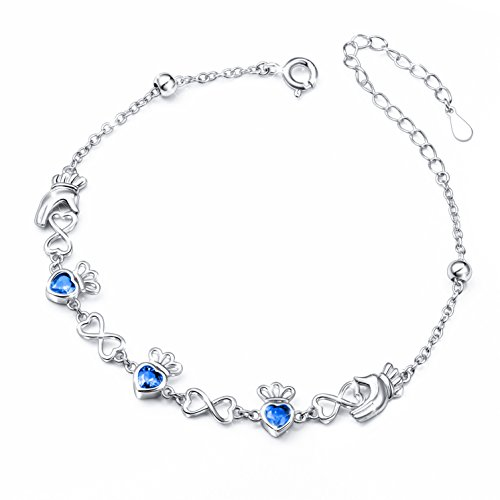 SILVER MOUNTAIN S925 Sterling Silver Adjustable Irish Celtic Claddagh Love Heart Bracelet for Women, 7''+2'' extender (Blue) by SILVER MOUNTAIN