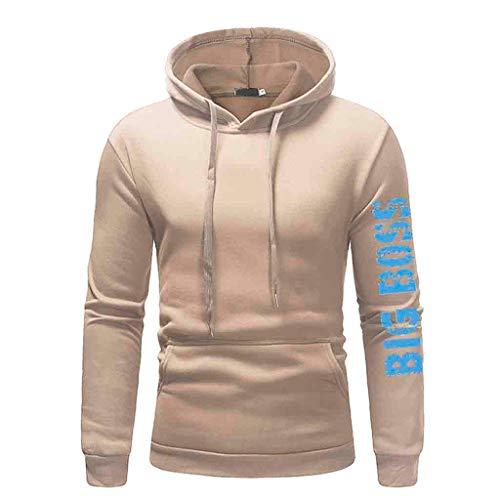 KIKOY Men's Basic Winter Long Sleeve Sweatshirt 'Bigg Boss' Print Casual Hoodie Pullover Tops ()