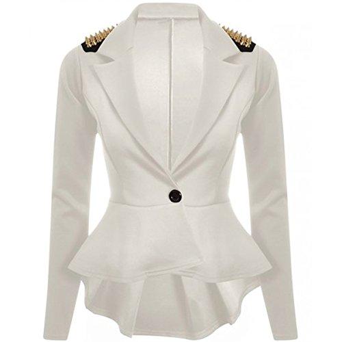 Frill Button (FashionMark Womens Spikes Studded Crop Peplum Frill Button Blazer Jacket Coat)