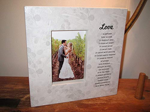 (Love is Patient love is kind picture frame Wedding Gift Wedding Picture Frame Couples Gift Wedding Sign scripture wedding poem shower gift bible verse)