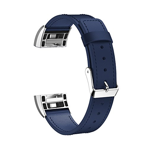 Leather Band for Fitbit Charge 2 - Small - Navy Blue Navy Blue Leather Band