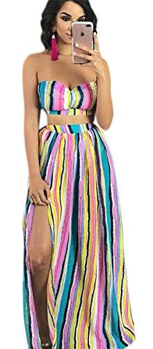 Clubwear Pices Moulante Bleu Stripe 2 Color Outfit Party Split A ligne Plage Ensemble Crop Imprim Femmes Jupes Tops Robe 5gU0OnxwUq