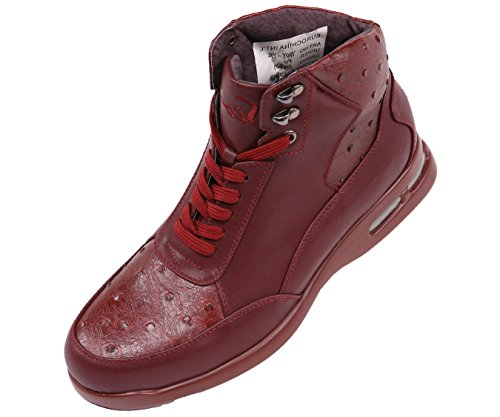 Sio Mens Exotic Ostrich Quill Printed Casual Lace Up Athletic Inspired Sneaker Boot, Style Troy Burgundy