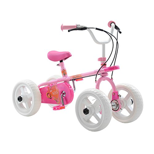 Quadrabyke Kiss Kid's Cycle, 10 inch Wheels, 2, 3 or 4-wheel design, Girl's Bike, Pink