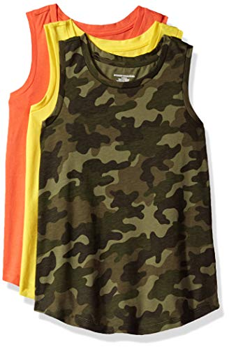 Amazon Essentials Big Girls' 3-Pack Tank, Aurora/camo Print/Living Coral, X-Large ()