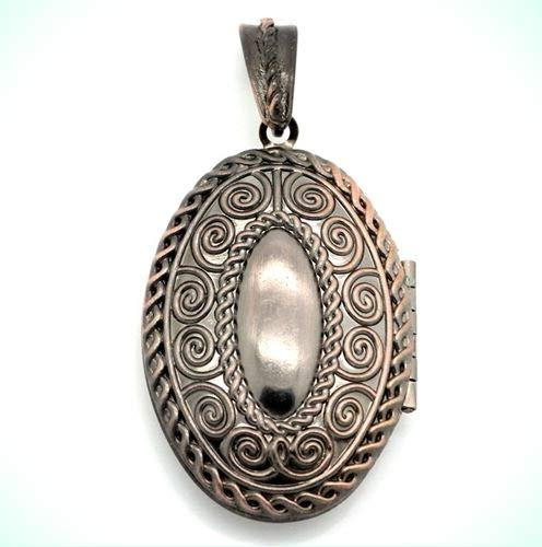 Antiqued Copper Embossed 39mm Oval Scrolled Photo Picture Locket Pendant - Gold Embossed Oval Locket