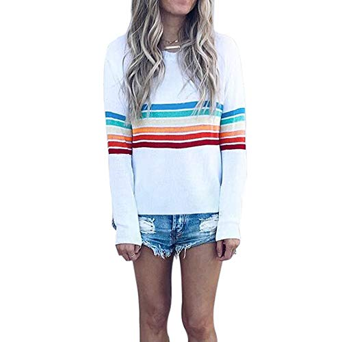 Women Multicolor Striped Sweater GREFER Clearance Print Long Sleeve Casual Sweatshirt Top Blouse ()