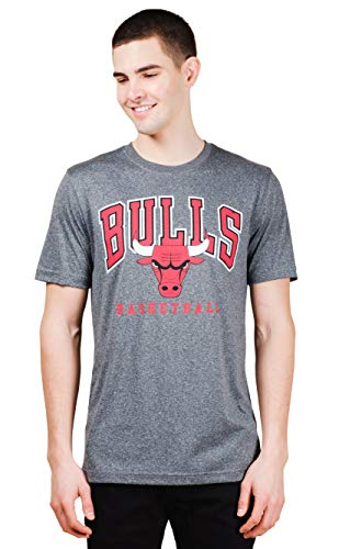NBA Chicago Bulls Mens T-Shirt Performance Quick Dry Active Tee Shirt, Charcoal, Medium -