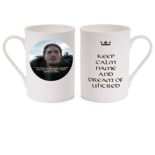 """Unique Customised Porcelain Mug KEEP CALM """"NAME"""" AND DREAM OF UHTRED with a picture of Uhtred played by Alexander Doetsch in the TV series The Last Kingdom from the Bernard Cornwell novels."""