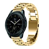 Galaxy Watch 42mm Bands,AutumnFall Luxury Stainless Steel Wristband Replacement Strap with Adjust Repair Tool for Samsung Galaxy Watch 42mm (Gold)