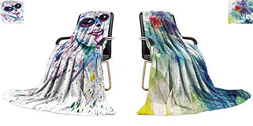 YOYI-home Thicken Blanket Halloween Girl with Sugar Skull Makeup, Watercolor Painting Digital Printing Blanket 70