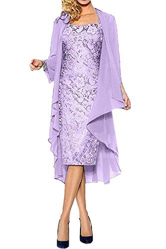 Lilac Festlichkleider Langarm Brautmutterkleider Abendkleider Promkleider Braut Bolero Marie Chiffon La Damen Kurz qUPgP