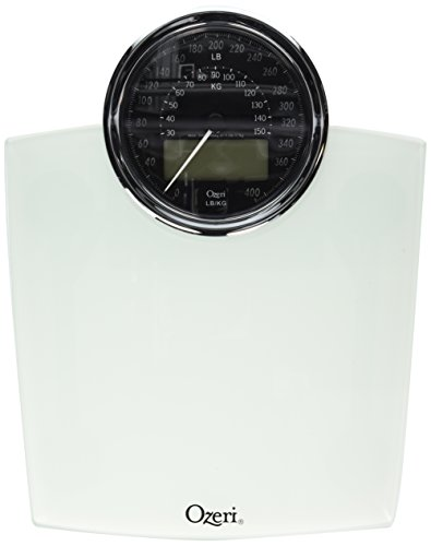 Ozeri ZB19-W Rev Digital Bathroom Scale with Electro-Mechanical Weight Dial, White