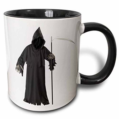 3dRose Blonde Designs Happy and Haunted Halloween - Halloween Creepy Grimm Reaper - 11oz Two-Tone Black Mug -