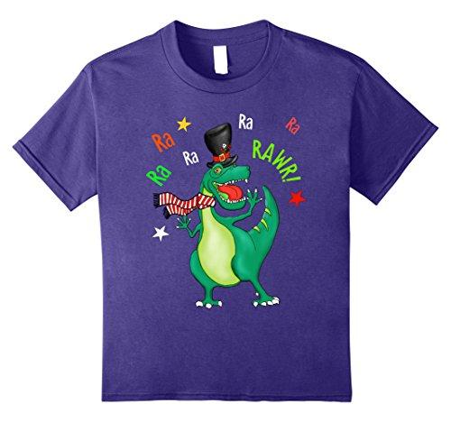 Kids Funny Christmas Caroling T-Rex Dinosaur Sings Rwar T-Shirt 12 Purple (Top Favorite Christmas Songs)
