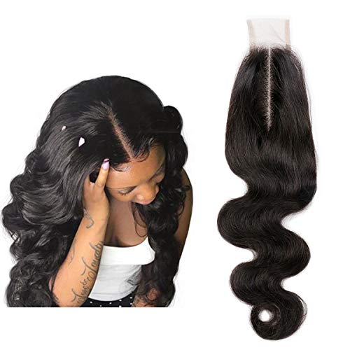 SingleBest 2x6 Deep Part Lace Closure Body Wave Human Hair With Baby Hair Unprocessed Brazilian Virgin Remy Hair Natural Color 12inch (Invisible Part Closure)