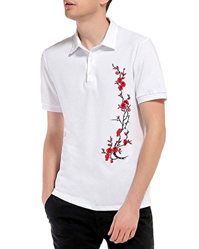 Price comparison product image Blouse,  Han Shi Fashion Men Slim Sports Polo Shirt Embroidery Short Sleeve Tops (L,  White)