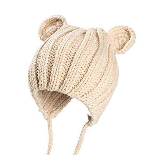 Supcibel Toddler Kids Crochet Beanie Hats Unisex Boys Girls Knitted Cartoon Bear Caps Winter Cute Infant Baby Earflap Hats Creamy White