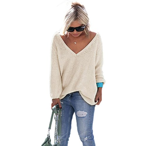 - SunWard(TM) Women Long Sleeve Knitted Pullover Loose Sweater Jumper Tops (One size, Beige)