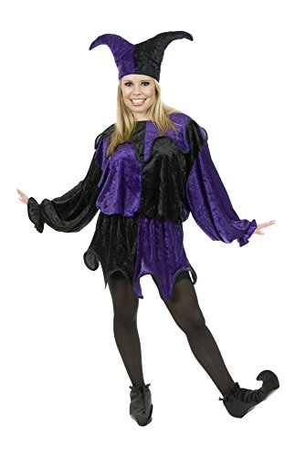 Charades Unisex-Adult's Plus Size Panne Jester, Black/Purple, 1X]()