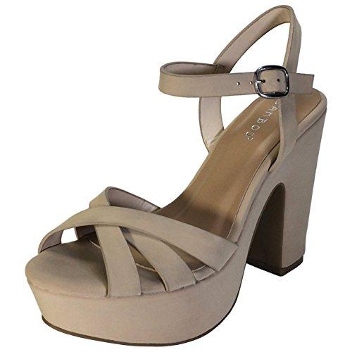 BAMBOO Women's Simple Platform Chunky Heel Sandal, Nude Nubuck PU, 8.5 B (M) US