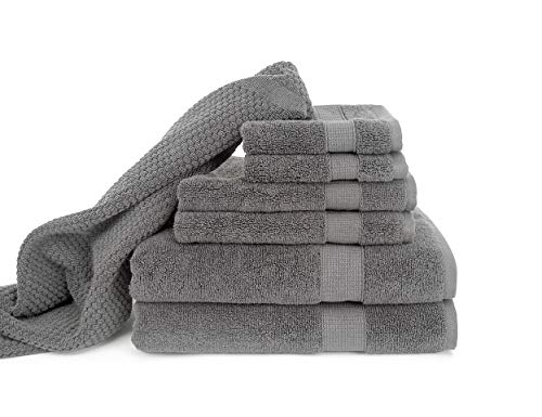 Blake Deluxe 7 Piece Bath Towel and Bath Mat Set - Densely Woven Premium Ultra Soft, High Absorbency Combed Cotton - Luxury Spa Bath Towels - 700 GSM (Light -