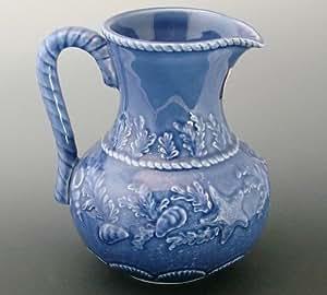 "8"" Pitcher Bordallo Pinheiro Blue Seashell Majolica ..."